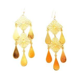 Vintage 3 Tier Gold Chandelier Earrings